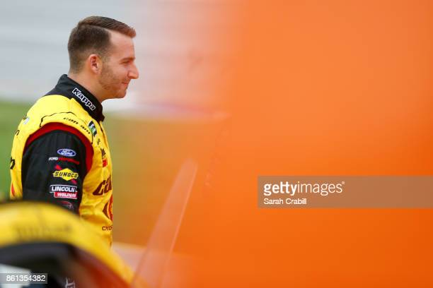 Matt DiBenedetto driver of the CanAm/Kappa Ford stands on the grid during qualifying for the Monster Energy NASCAR Cup Series Alabama 500 at...
