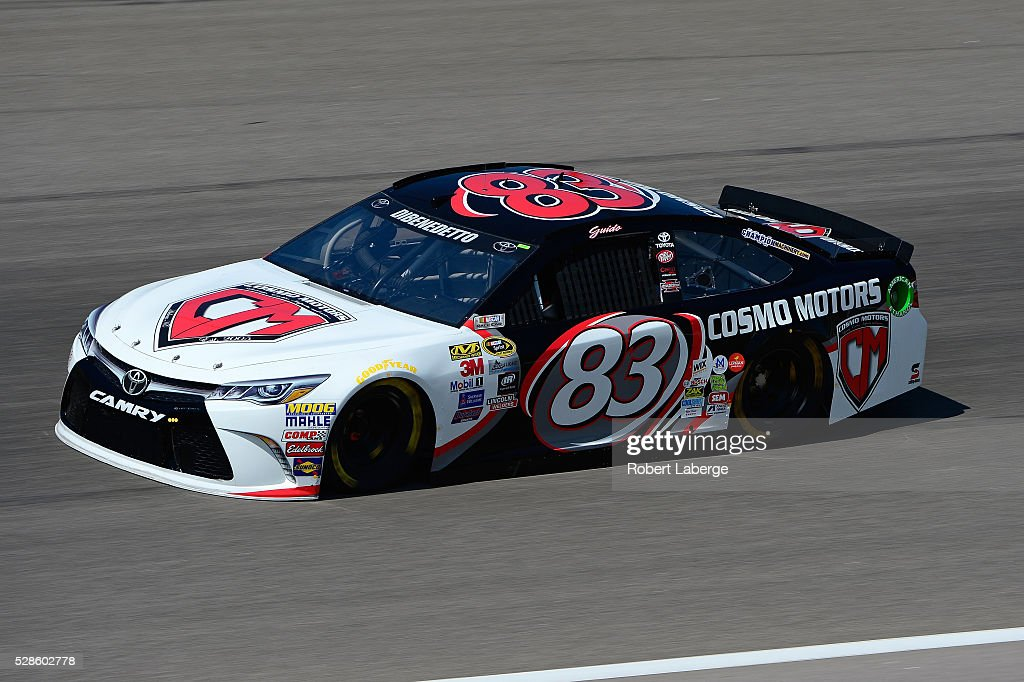Matt DiBenedetto, driver of the #83 Cosmo Motors Toyota, drives during practice for the NASCAR Sprint Cup Series Go Bowling 400 at Kansas Speedway on May 6, 2016 in Kansas City, Kansas.