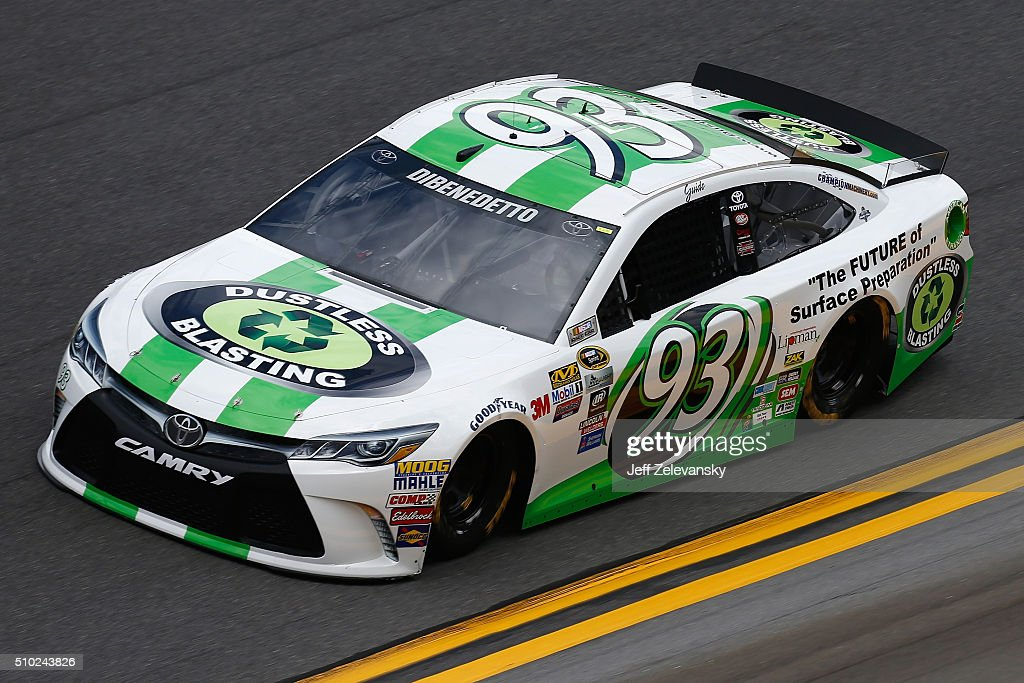 Matt DiBenedetto, driver of the #93 Dustless Blasting Toyota, drives during qualifying for the NASCAR Sprint Cup Series Daytona 500 at Daytona International Speedway on February 14, 2016 in Daytona Beach, Florida.