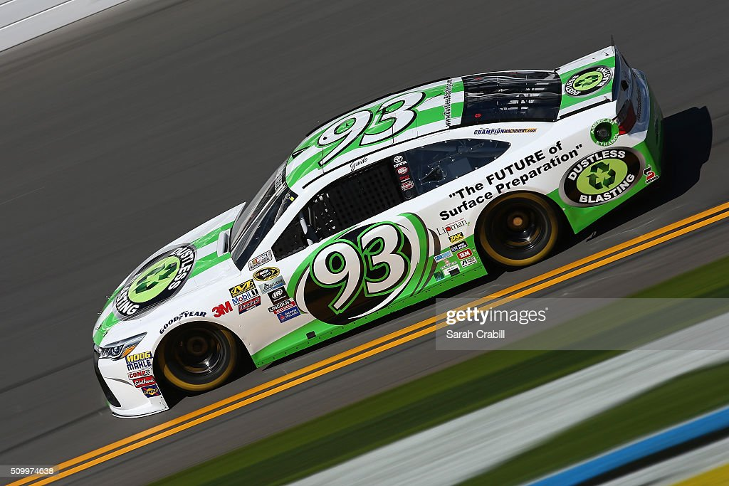 Matt DiBenedetto, driver of the #93 Dustless Blasting Toyota, practices for the NASCAR Sprint Cup Series Daytona 500 at Daytona International Speedway on February 13, 2016 in Daytona Beach, Florida.