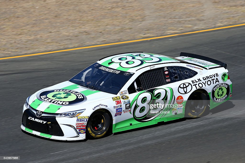 Matt DiBenedetto, driver of the #83 Dustless Blasting Toyota, practices for the NASCAR Sprint Cup Series Toyota/Save Mart 350 at Sonoma Raceway on June 24, 2016 in Sonoma, California.