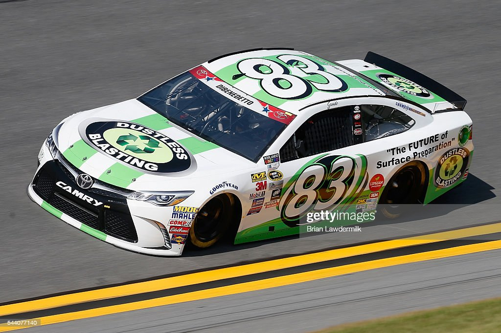 Matt DiBenedetto, driver of the #83 Dustless Blasting Toyota, practices for the NASCAR Sprint Cup Series Coke Zero 400 at Daytona International Speedway on July 1, 2016 in Daytona Beach, Florida.