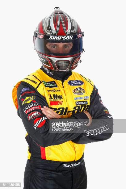 Matt DiBenedetto driver of the EJ Wade Construction Ford poses for a portrait at Daytona International Speedway on February 23 2017 in Daytona Beach...