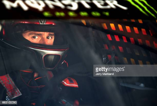 Matt DiBenedetto driver of the Keen Parts Ford sits in his car during practice for the Monster Energy NASCAR Cup Series STP 500 at Martinsville...