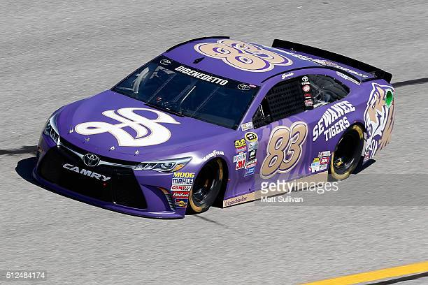 Matt DiBenedetto driver of the SewaneeUniversityoftheSth/ZAKProducts Toyota practices for the NASCAR Sprint Cup Series Folds of Honor QuikTrip 500 at...