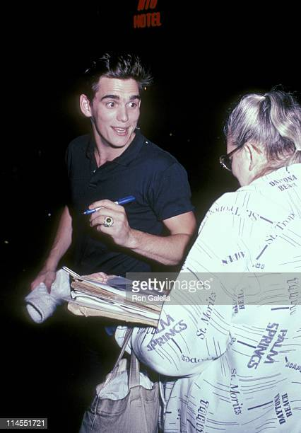 Matt Dillon and fan during Party for Phil Collins June 2 1985 at Dish of Salt Restaurant in New York City New York United States