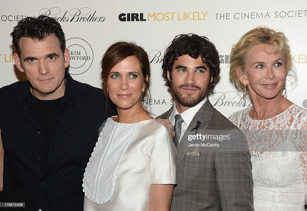 <a gi-track='captionPersonalityLinkClicked' href=/galleries/search?phrase=Matt+Dillon&family=editorial&specificpeople=202099 ng-click='$event.stopPropagation()'>Matt Dillon</a>, <a gi-track='captionPersonalityLinkClicked' href=/galleries/search?phrase=Kristen+Wiig&family=editorial&specificpeople=4029391 ng-click='$event.stopPropagation()'>Kristen Wiig</a>, <a gi-track='captionPersonalityLinkClicked' href=/galleries/search?phrase=Darren+Criss&family=editorial&specificpeople=7341435 ng-click='$event.stopPropagation()'>Darren Criss</a> and <a gi-track='captionPersonalityLinkClicked' href=/galleries/search?phrase=Trudie+Styler&family=editorial&specificpeople=203268 ng-click='$event.stopPropagation()'>Trudie Styler</a> attend the screening of Lionsgate and Roadside Attractions' 'Girl Most Likely' hosted by The Cinema Society & Brooks Brothers at Landmark's Sunshine Cinema on July 15, 2013 in New York City.