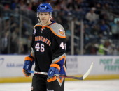 Matt Donovan of the Bridgeport Sound Tigers looks on during an American Hockey League game against the Norfolk Admirals on December 2 2012 at the...