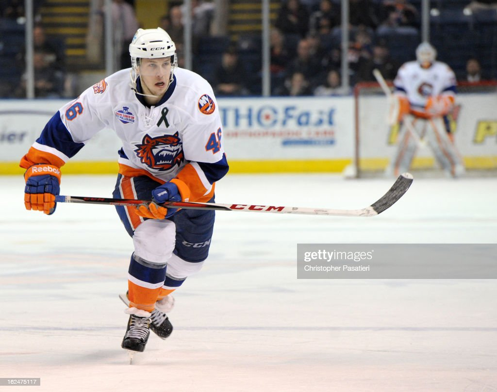 Matt Donovan #46 of the Bridgeport Sound Tigers skates during an American Hockey League game against the Manchester Monarchs on February 23, 2013 at the Webster Bank Arena at Harbor Yard in Bridgeport, Connecticut.