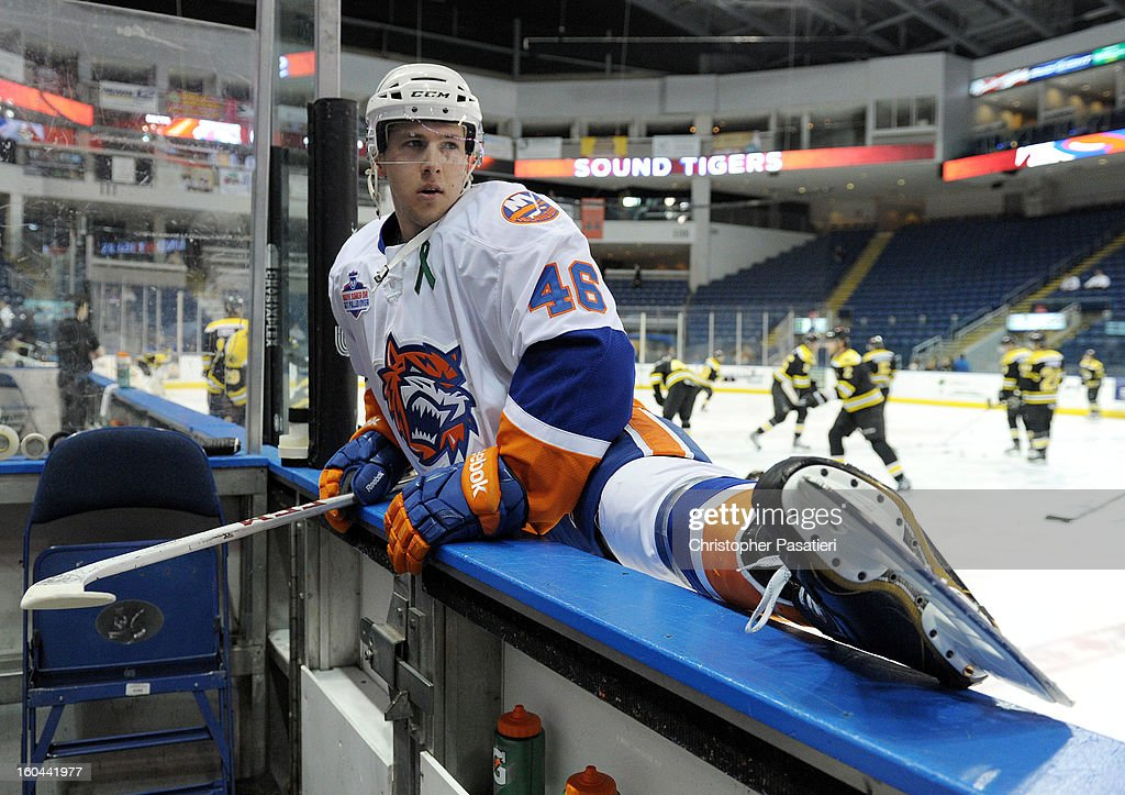 Matt Donovan #46 of the Bridgeport Sound Tigers stretches prior to an American Hockey League game against the Providence Bruins on January 31, 2013 at the Webster Bank Arena at Harbor Yard in Bridgeport, Connecticut.