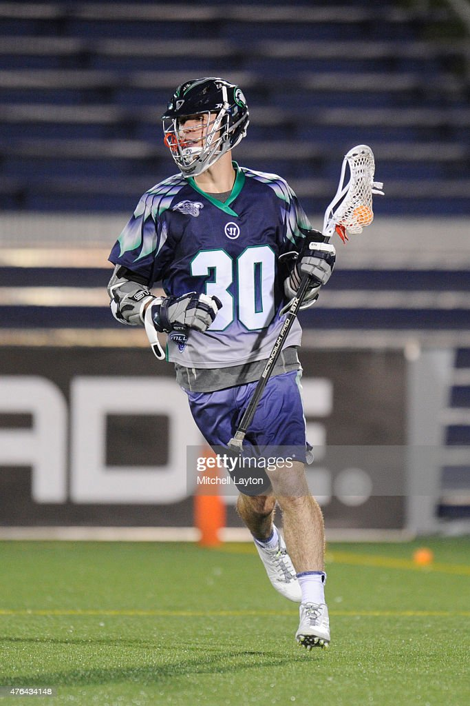 Matt Donovan of the Chesapeake Bayhawks with the ball during a MLL lacrosse game against the Denver Outlaws at NavyMarine Corps Memorial Stadium on...