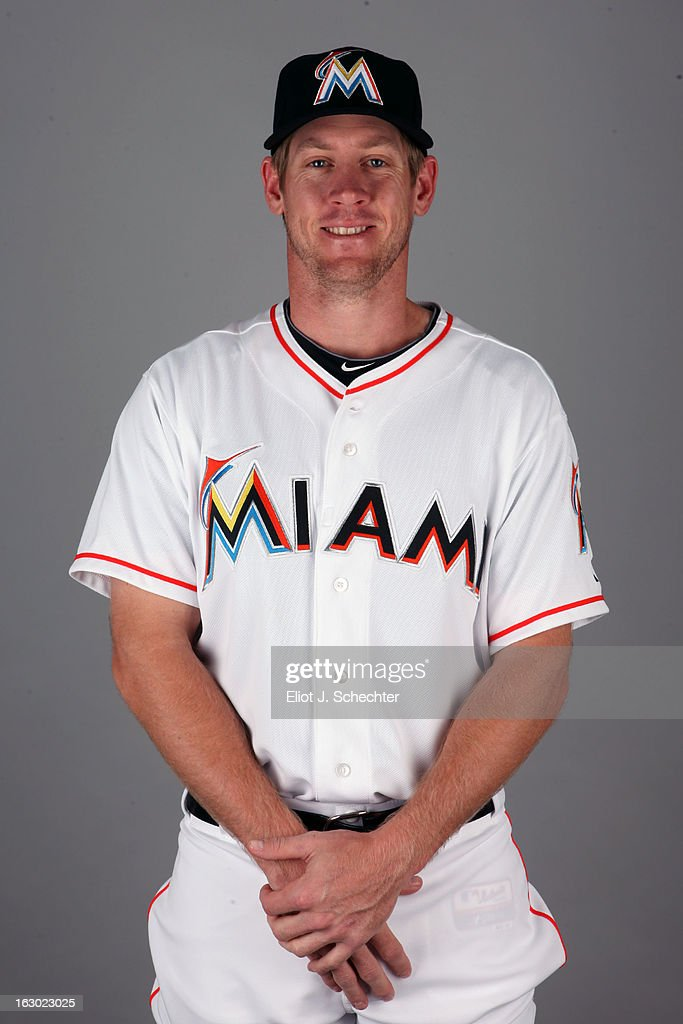 Matt Downs #21 of the Miami Marlins poses during Photo Day on Friday, February 22, 2013 at Roger Dean Stadium in Jupiter, Florida.