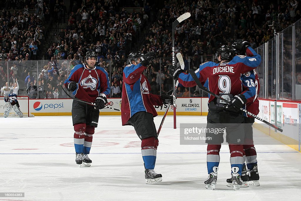 <a gi-track='captionPersonalityLinkClicked' href=/galleries/search?phrase=Matt+Duchene&family=editorial&specificpeople=4819304 ng-click='$event.stopPropagation()'>Matt Duchene</a> #9 and <a gi-track='captionPersonalityLinkClicked' href=/galleries/search?phrase=Paul+Stastny&family=editorial&specificpeople=2494330 ng-click='$event.stopPropagation()'>Paul Stastny</a> #26 of the Colorado Avalanche celebrate his third period goal against the Edmonton Oilers at the Pepsi Center on February 2, 2013 in Denver, Colorado. The Avalanche went on to win 3-1.