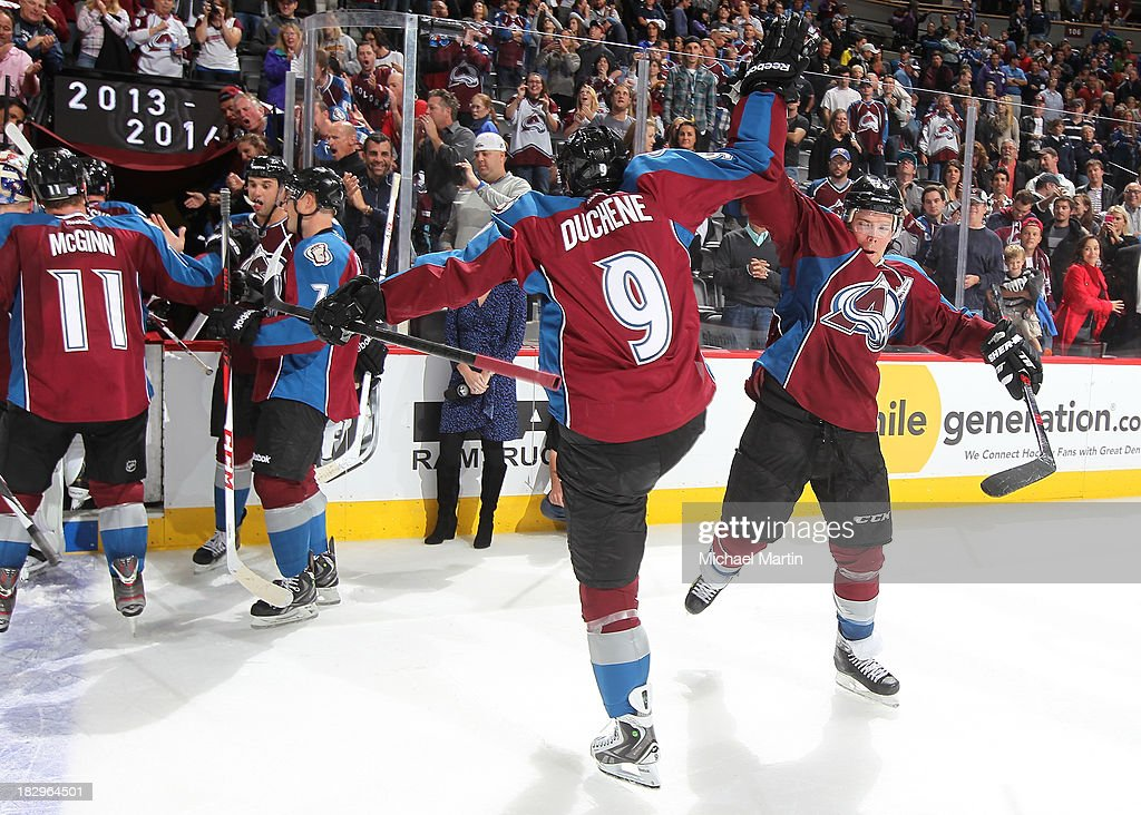 <a gi-track='captionPersonalityLinkClicked' href=/galleries/search?phrase=Matt+Duchene&family=editorial&specificpeople=4819304 ng-click='$event.stopPropagation()'>Matt Duchene</a> #9 and <a gi-track='captionPersonalityLinkClicked' href=/galleries/search?phrase=Paul+Stastny&family=editorial&specificpeople=2494330 ng-click='$event.stopPropagation()'>Paul Stastny</a> #26 of the Colorado Avalanche celebrate after defeating the Anaheim Ducks at the Pepsi Center on October 2, 2013 in Denver, Colorado.