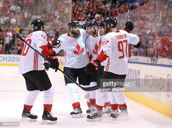 Matt Duchene celebrates with Ryan O'Reilly Brent Burns Alex Pietrangelo and Joe Thornton of Team Canada after scoring a first period goal against...