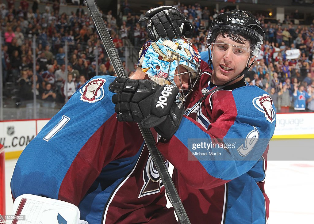 <a gi-track='captionPersonalityLinkClicked' href=/galleries/search?phrase=Matt+Duchene&family=editorial&specificpeople=4819304 ng-click='$event.stopPropagation()'>Matt Duchene</a> #9 congratulates goalie <a gi-track='captionPersonalityLinkClicked' href=/galleries/search?phrase=Semyon+Varlamov&family=editorial&specificpeople=6264893 ng-click='$event.stopPropagation()'>Semyon Varlamov</a> #1 of the Colorado Avalanche after defeating the Anaheim Ducks 6-1 at the Pepsi Center on October 2, 2013 in Denver, Colorado.