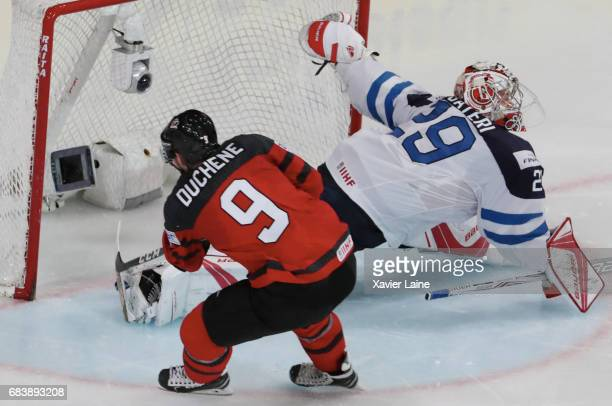 Matt Duchene of Canada score a goal over Harri Sateri of Finland during the 2017 IIHF Ice Hockey World Championship game between Canada and Finland...