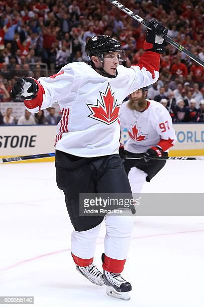 Matt Duchene of Team Canada celebrates after scoring a first period goal on Team USA during the World Cup of Hockey 2016 at Air Canada Centre on...