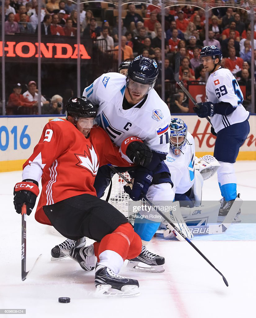 Matt Duchene #9 of Team Canada collides with Anze Kopitar #11 of Team Europe during the World Cup of Hockey 2016 at Air Canada Centre on September 21, 2016 in Toronto, Ontario, Canada.