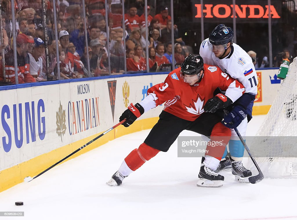 Matt Duchene #9 of Team Canada pulls the puck away from Anze Kopitar #11 of Team Europe during the World Cup of Hockey 2016 at Air Canada Centre on September 21, 2016 in Toronto, Ontario, Canada.