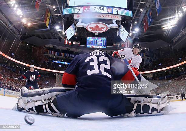 Matt Duchene of Team Canada scores his second goal of the first period against Jonathan Quick of Team USA during the World Cup of Hockey tournament...