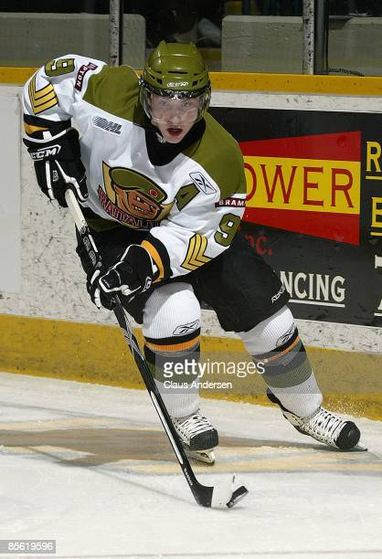 Matt Duchene of the Brampton Battalion skates with the puck in the 3rd game of the opening round eastern conference series against the Peterborough...