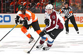 Matt Duchene of the Colorado Avalanche advances the puck up the ice past Wayne Simmonds of the Philadelphia Flyers in the first period at Wells Fargo...