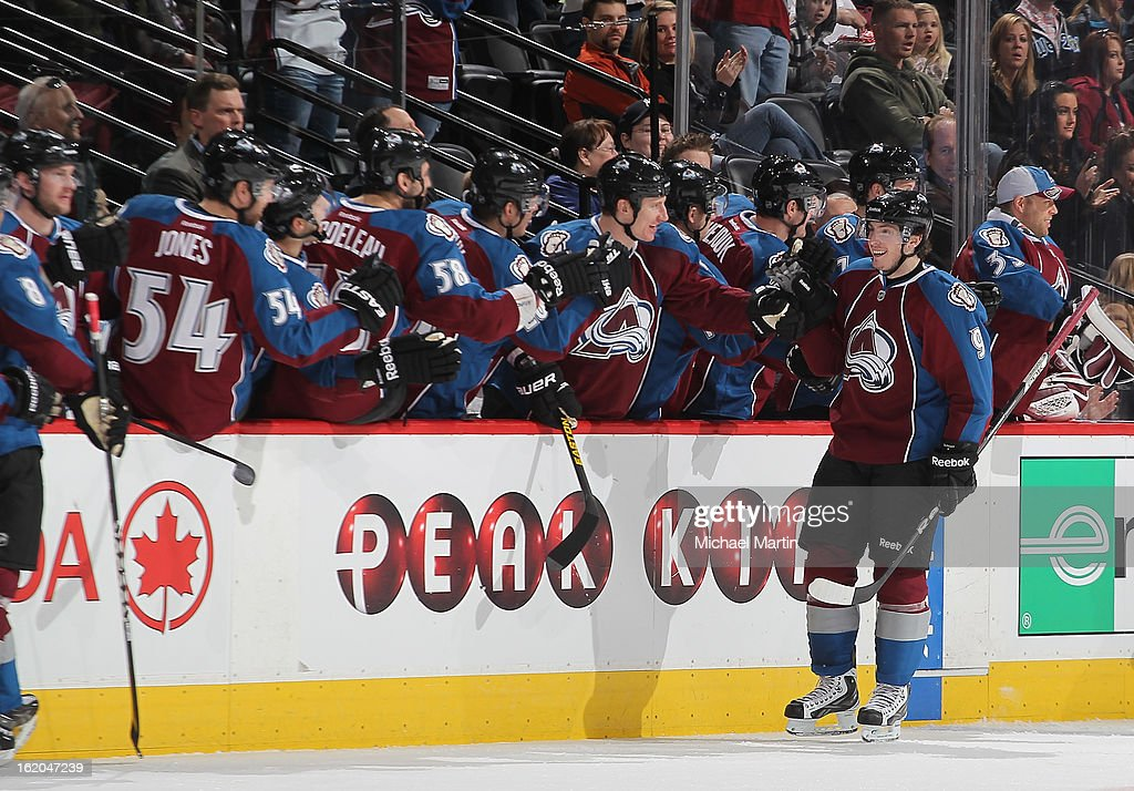<a gi-track='captionPersonalityLinkClicked' href=/galleries/search?phrase=Matt+Duchene&family=editorial&specificpeople=4819304 ng-click='$event.stopPropagation()'>Matt Duchene</a> #9 of the Colorado Avalanche celebrates a goal against the Nashville Predators at the Pepsi Center on February 18, 2013 in Denver, Colorado.