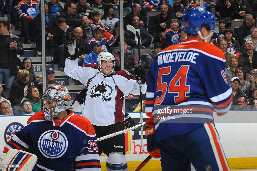 <a gi-track='captionPersonalityLinkClicked' href=/galleries/search?phrase=Matt+Duchene&family=editorial&specificpeople=4819304 ng-click='$event.stopPropagation()'>Matt Duchene</a> #9 of the Colorado Avalanche celebrates after scoring a goal in a game against the Edmonton Oilers on February 16, 2013 at Rexall Place in Edmonton, Alberta, Canada.