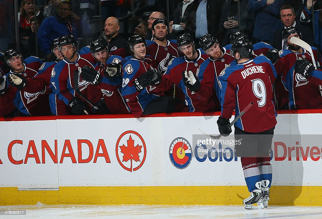 Matt Duchene #9 of the Colorado Avalanche celebrates his goal against the Chicago Blackhawks to take a 2-0 lead in the second period at Pepsi Center on March 12, 2014 in Denver, Colorado.