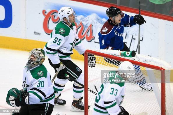 Matt Duchene of the Colorado Avalanche celebrates his second period goal against goalie Dan Ellis of the Dallas Stars as Sergei Gonchar and Alex...