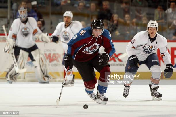 Matt Duchene of the Colorado Avalanche controls the puck against the Edmonton Oilers at the Pepsi Center on February 23 2011 in Denver Colorado The...