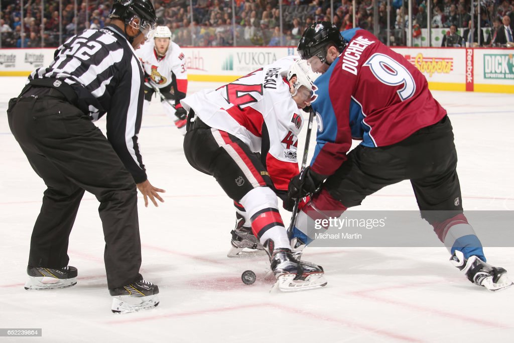 Matt Duchene #9 of the Colorado Avalanche faces off against Jean-Gabriel Pageau #44 of the Ottawa Senators at the Pepsi Center on March 11, 2017 in Denver, Colorado.
