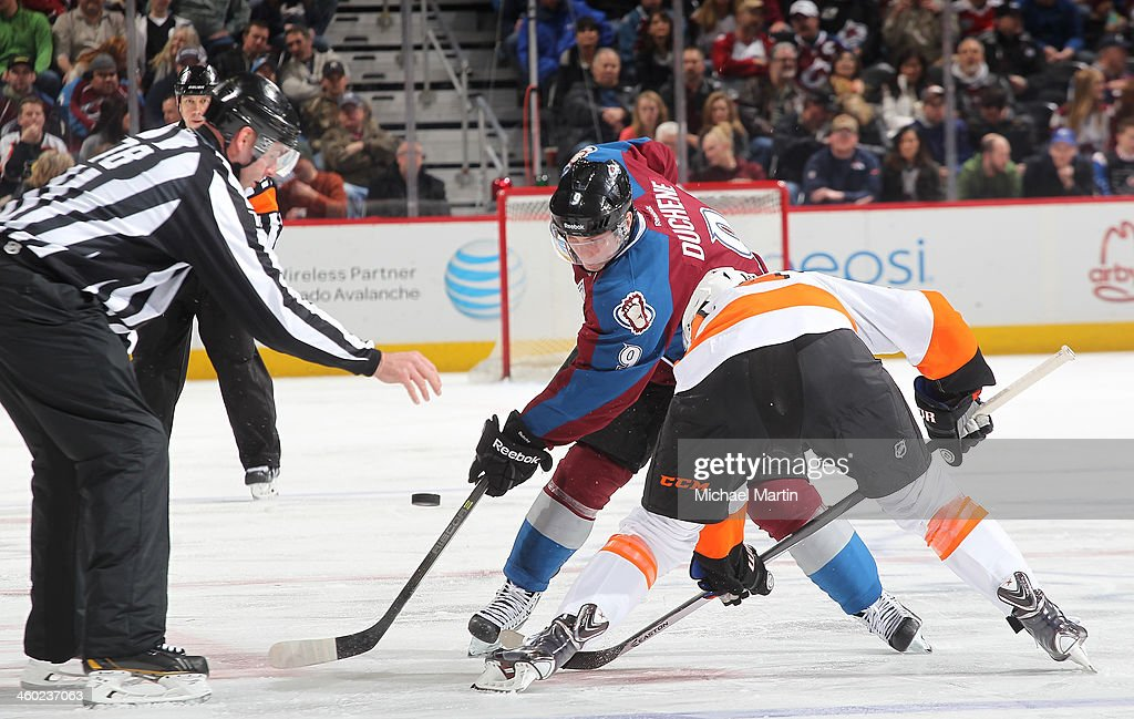 <a gi-track='captionPersonalityLinkClicked' href=/galleries/search?phrase=Matt+Duchene&family=editorial&specificpeople=4819304 ng-click='$event.stopPropagation()'>Matt Duchene</a> #9 of the Colorado Avalanche faces off against <a gi-track='captionPersonalityLinkClicked' href=/galleries/search?phrase=Sean+Couturier&family=editorial&specificpeople=5663953 ng-click='$event.stopPropagation()'>Sean Couturier</a> #14 of the Philadelphia Flyers at the Pepsi Center on January, 2014 in Denver, Colorado.