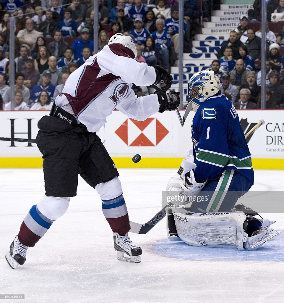 <a gi-track='captionPersonalityLinkClicked' href=/galleries/search?phrase=Matt+Duchene&family=editorial&specificpeople=4819304 ng-click='$event.stopPropagation()'>Matt Duchene</a> #9 of the Colorado Avalanche hits goalie <a gi-track='captionPersonalityLinkClicked' href=/galleries/search?phrase=Roberto+Luongo&family=editorial&specificpeople=202638 ng-click='$event.stopPropagation()'>Roberto Luongo</a> #1 of the Vancouver Canucks in the head while trying to bat in his rebound after getting stopped on a breakaway during the third period in NHL action on January 30, 2013 at Rogers Arena in Vancouver, British Columbia, Canada.
