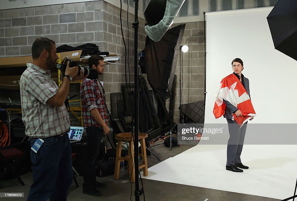 Matt Duchene of the Colorado Avalanche is photographed in a portrait session during the National Hockey League Player Media Tour at the Prudential Center on September 6, 2013 in Newark, New Jersey.