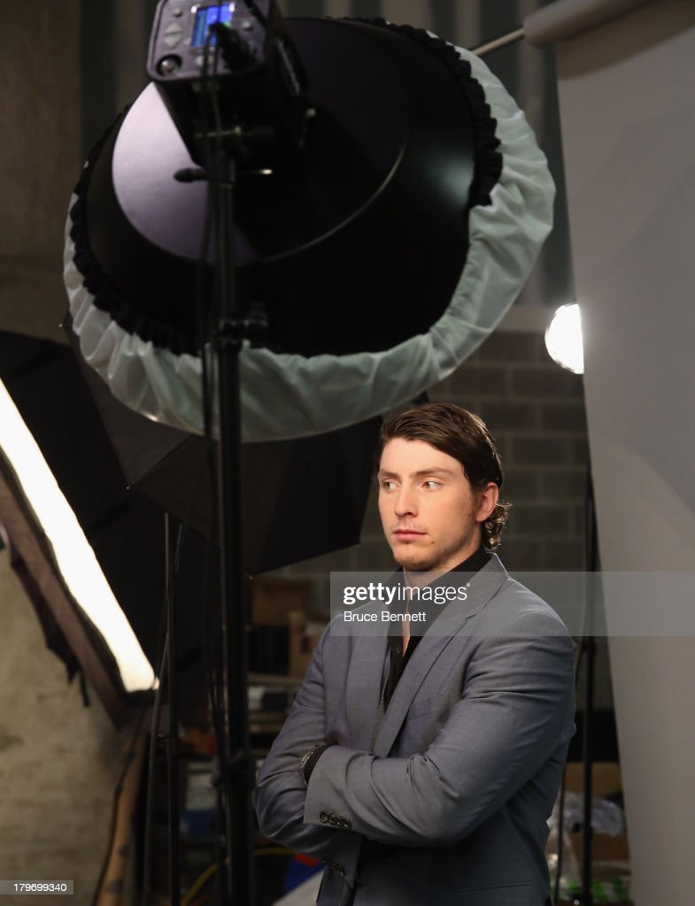 <a gi-track='captionPersonalityLinkClicked' href=/galleries/search?phrase=Matt+Duchene&family=editorial&specificpeople=4819304 ng-click='$event.stopPropagation()'>Matt Duchene</a> of the Colorado Avalanche is photographed in a portrait session during the National Hockey League Player Media Tour at the Prudential Center on September 6, 2013 in Newark, New Jersey.