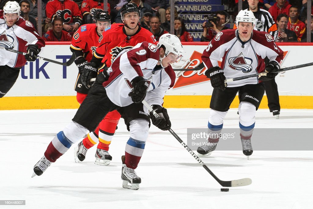 <a gi-track='captionPersonalityLinkClicked' href=/galleries/search?phrase=Matt+Duchene&family=editorial&specificpeople=4819304 ng-click='$event.stopPropagation()'>Matt Duchene</a> #9 of the Colorado Avalanche moves the puck against the Calgary Flames on January 31, 2013 at the Scotiabank Saddledome in Calgary, Alberta, Canada.