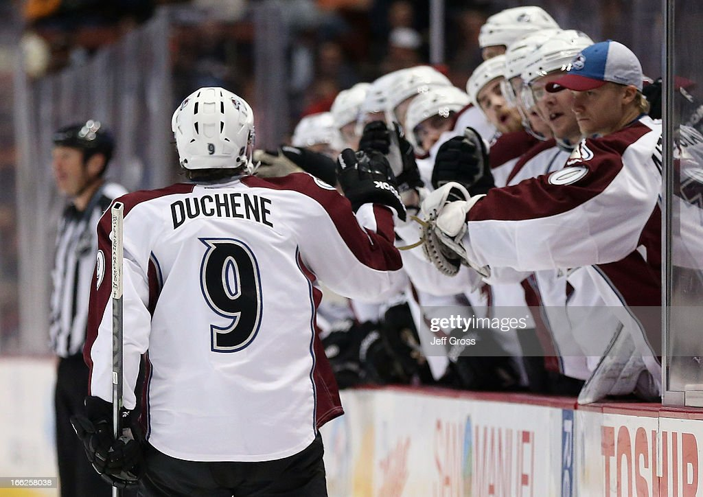 Matt Duchene #9 of the Colorado Avalanche receives high fives from the bench after scoring a goal in the second period against the Anaheim Ducks at Honda Center on April 10, 2013 in Anaheim, California.