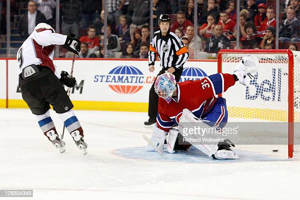 Matt Duchene of the Colorado Avalanche score the gamewinning goal on a shootout attempt against Carey Price of the Montreal Canadiens during the NHL...