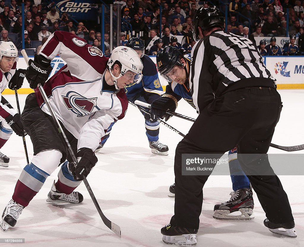 <a gi-track='captionPersonalityLinkClicked' href=/galleries/search?phrase=Matt+Duchene&family=editorial&specificpeople=4819304 ng-click='$event.stopPropagation()'>Matt Duchene</a> #9 of the Colorado Avalanche sets for a face off against <a gi-track='captionPersonalityLinkClicked' href=/galleries/search?phrase=Patrik+Berglund&family=editorial&specificpeople=540481 ng-click='$event.stopPropagation()'>Patrik Berglund</a> #21 of the St. Louis Blues in an NHL game on April 23, 2013 at Scottrade Center in St. Louis, Missouri.