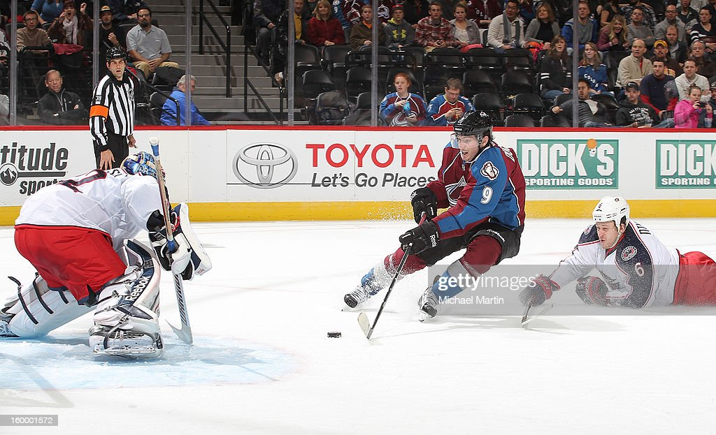 <a gi-track='captionPersonalityLinkClicked' href=/galleries/search?phrase=Matt+Duchene&family=editorial&specificpeople=4819304 ng-click='$event.stopPropagation()'>Matt Duchene</a> #9 of the Colorado Avalanche shoots a goal against Goaltender <a gi-track='captionPersonalityLinkClicked' href=/galleries/search?phrase=Sergei+Bobrovsky&family=editorial&specificpeople=4488556 ng-click='$event.stopPropagation()'>Sergei Bobrovsky</a> #72 of the Columbus Blue Jackets at the Pepsi Center on January 24, 2013 in Denver, Colorado.
