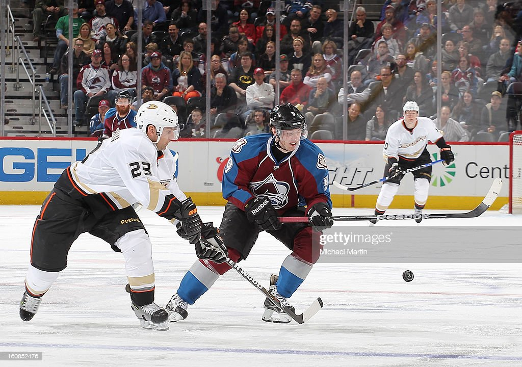 <a gi-track='captionPersonalityLinkClicked' href=/galleries/search?phrase=Matt+Duchene&family=editorial&specificpeople=4819304 ng-click='$event.stopPropagation()'>Matt Duchene</a> #9 of the Colorado Avalanche skates against <a gi-track='captionPersonalityLinkClicked' href=/galleries/search?phrase=Francois+Beauchemin&family=editorial&specificpeople=604125 ng-click='$event.stopPropagation()'>Francois Beauchemin</a> #23 of the Anaheim Ducks at the Pepsi Center on February 6, 2013 in Denver, Colorado. The Ducks defeated the Avalanche 3-0.