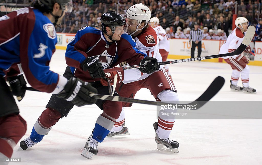 <a gi-track='captionPersonalityLinkClicked' href=/galleries/search?phrase=Matt+Duchene&family=editorial&specificpeople=4819304 ng-click='$event.stopPropagation()'>Matt Duchene</a> #9 of the Colorado Avalanche skates against <a gi-track='captionPersonalityLinkClicked' href=/galleries/search?phrase=Martin+Hanzal&family=editorial&specificpeople=2109469 ng-click='$event.stopPropagation()'>Martin Hanzal</a> #11 of the Phoenix Coyotes at the Pepsi Center on February 11, 2013 in Denver, Colorado. The Coyotes defeated the Avalanche 3-2 in overtime.