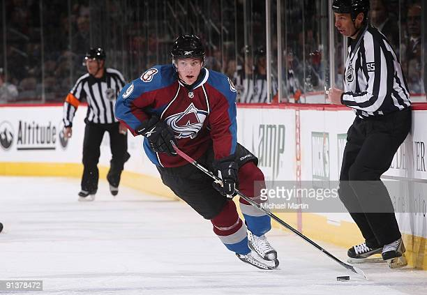 Matt Duchene of the Colorado Avalanche skates against the Vancouver Canucks at the Pepsi Center on October 3 2009 in Denver Colorado The Avalanche...