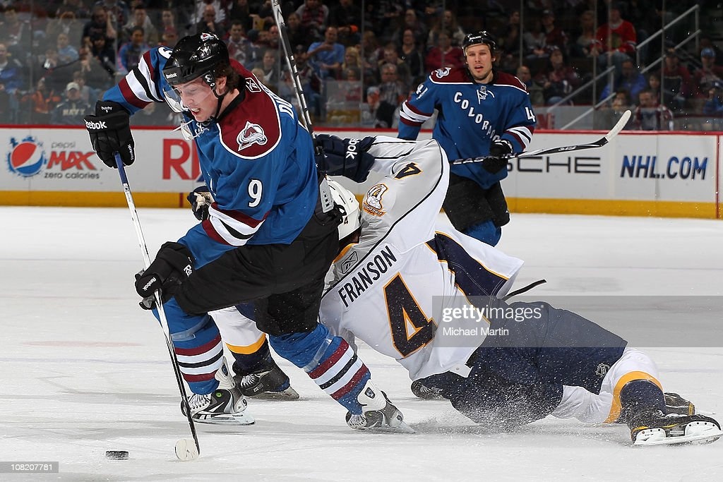 <a gi-track='captionPersonalityLinkClicked' href=/galleries/search?phrase=Matt+Duchene&family=editorial&specificpeople=4819304 ng-click='$event.stopPropagation()'>Matt Duchene</a> #9 of the Colorado Avalanche steals the puck from <a gi-track='captionPersonalityLinkClicked' href=/galleries/search?phrase=Cody+Franson&family=editorial&specificpeople=2125769 ng-click='$event.stopPropagation()'>Cody Franson</a> #4 of the Nashville Predators at the Pepsi Center on January 20, 2011 in Denver, Colorado.
