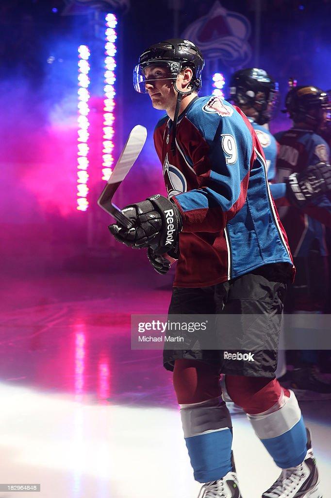 <a gi-track='captionPersonalityLinkClicked' href=/galleries/search?phrase=Matt+Duchene&family=editorial&specificpeople=4819304 ng-click='$event.stopPropagation()'>Matt Duchene</a> #9 of the Colorado Avalanche takes to the ice against the Anaheim Ducks at the Pepsi Center on October 2, 2013 in Denver, Colorado.
