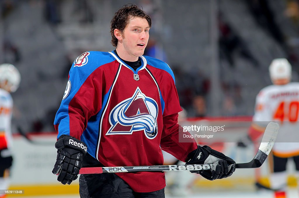 Matt Duchene #9 of the Colorado Avalanche warms up prior to facing the Calgary Flames at the Pepsi Center on February 28, 2013 in Denver, Colorado. The Avalanche defeated the Flames 5-4.