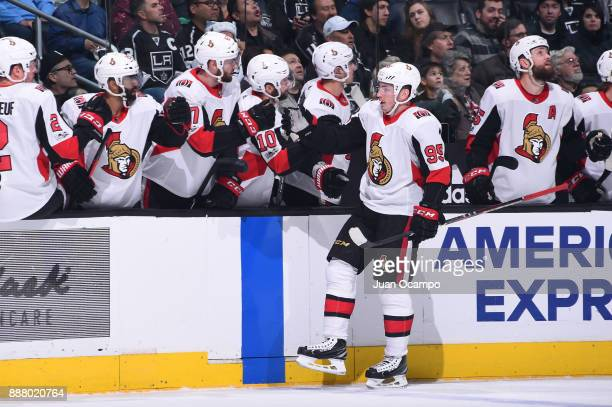 Matt Duchene of the Ottawa Senators celebrates with teammates after scoring a goal against the Los Angeles Kings at STAPLES Center on December 7 2017...