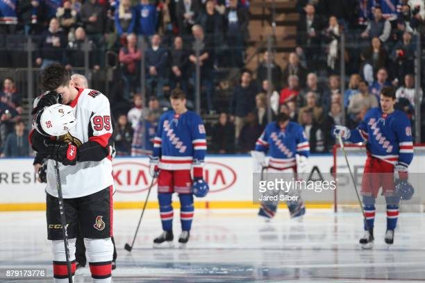 Matt Duchene of the Ottawa Senators looks on during the national anthem prior to the game against the New York Rangers at Madison Square Garden on...